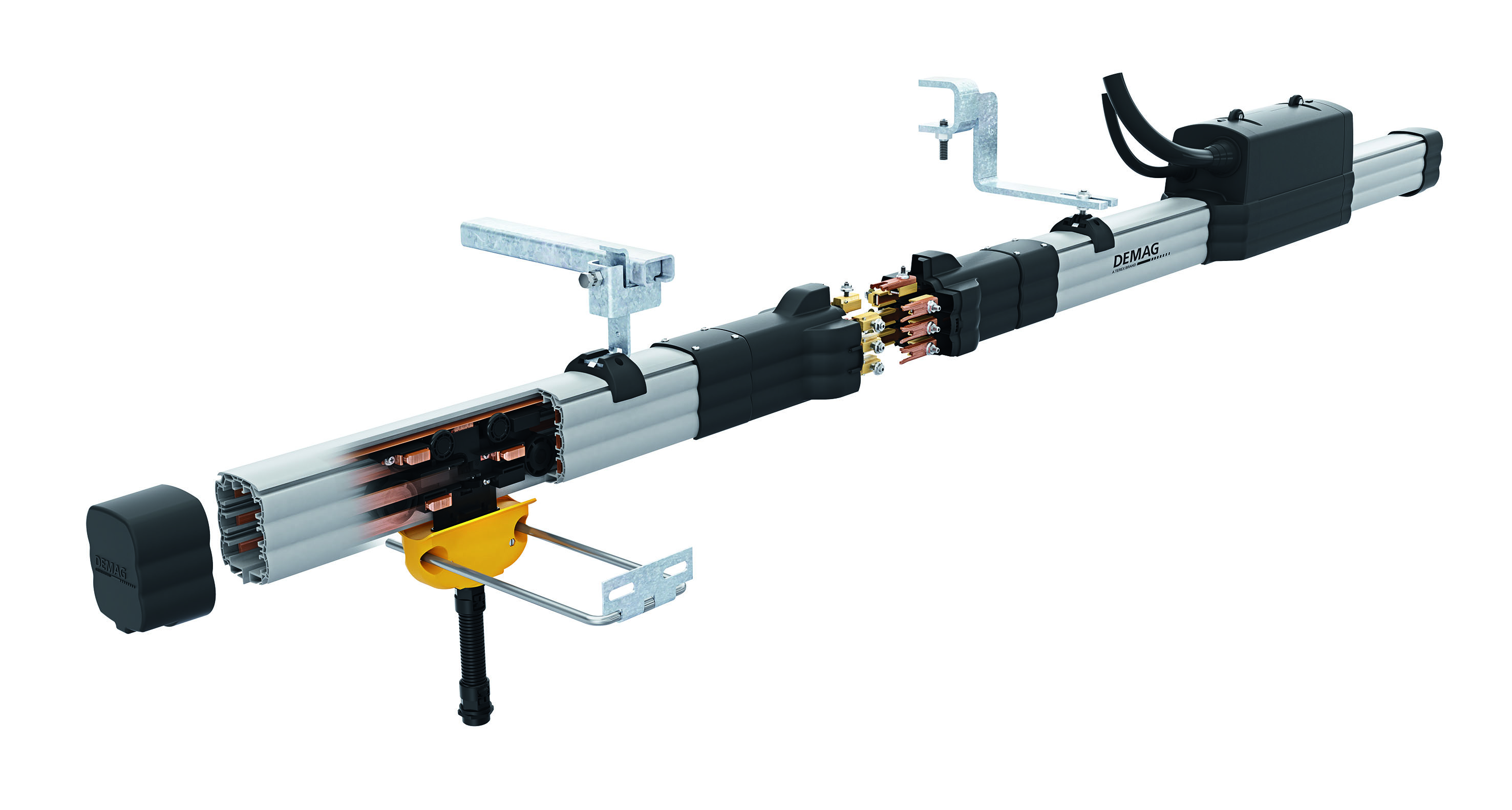 The new bracket (right) in combination with the threaded pin suspension enables installation times for DCL-Pro compact conductor lines to be significantly reduced.