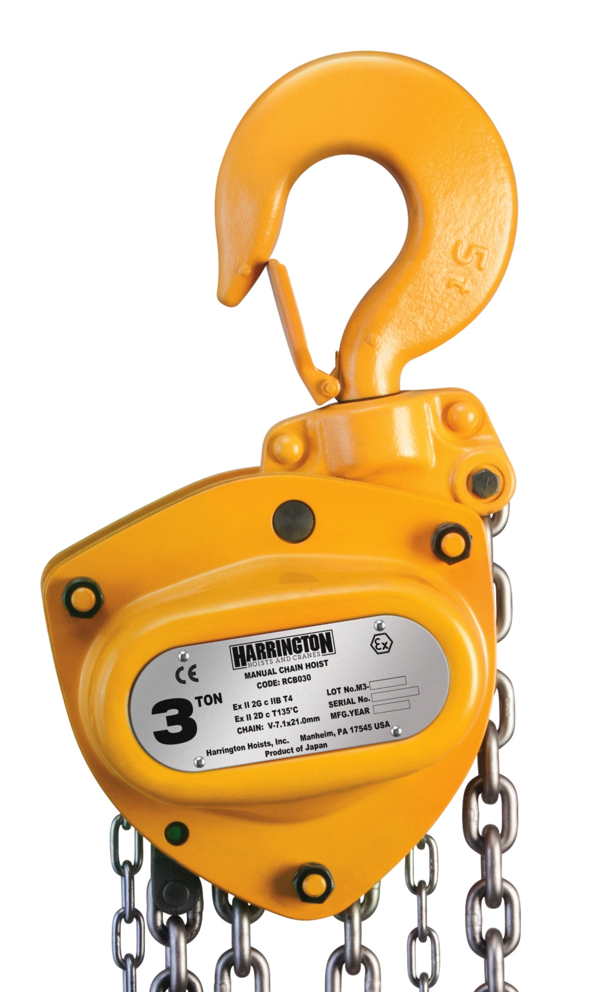 The new RCB Ex Certified Spark Resistant hand chain hoists are for potentially explosive atmospheres that require features that reduce the risk of spark.