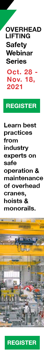 The Crane Manufacturers Association of America is running webinars on overhead cranes and lifting technology